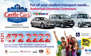 Castle Cars Taxis - Your Students union official t