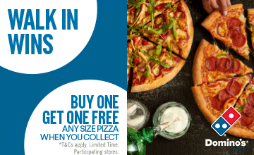 Dominos Pizza - Buy one get one free - any pizza w