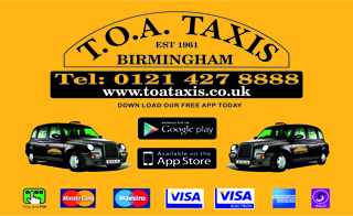 TOA Taxis - Call us on 0121 427 8888 or visit www.