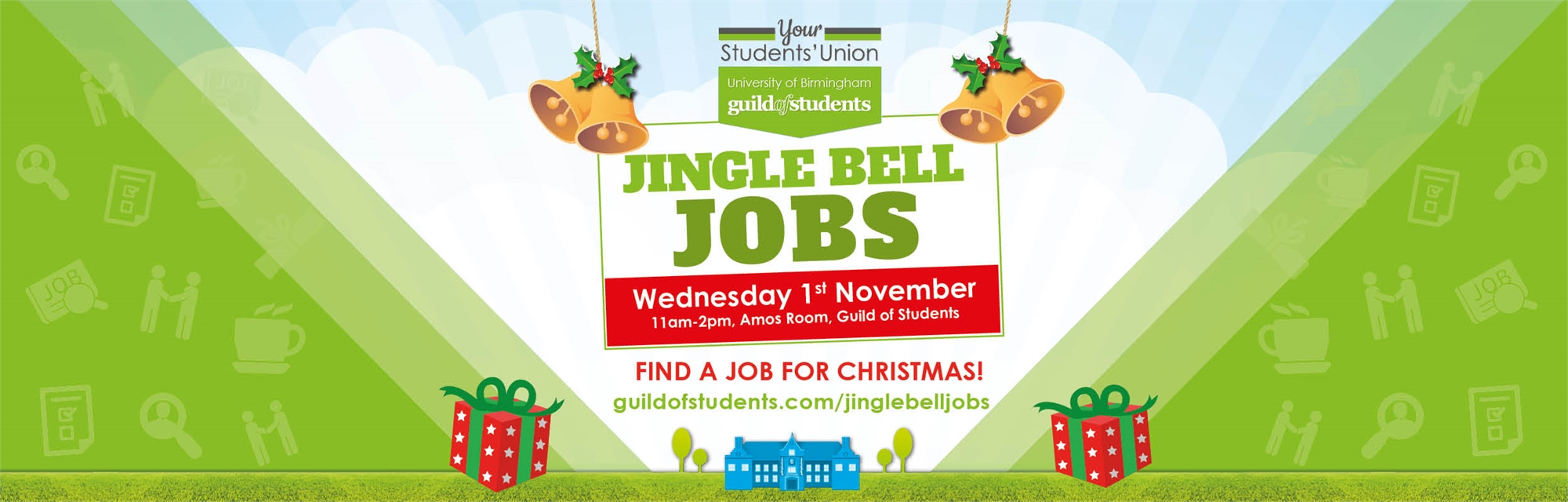 Jingle Bell Jobs - Find a job for Christmas - Wed 1st November 2017 - 11am - 2pm Amos Room - Guild o