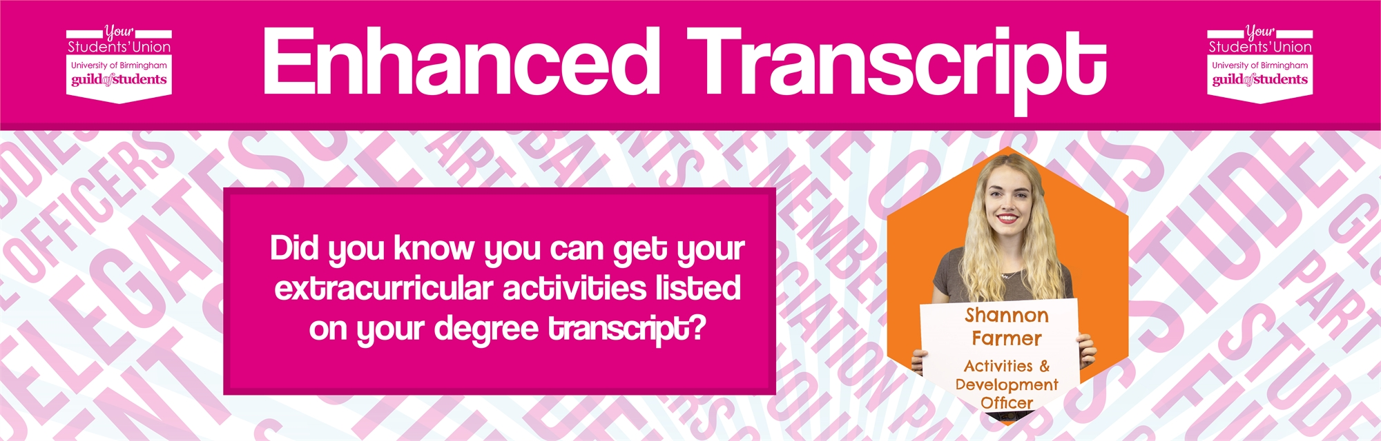Did you know you can get extra curricular activities listed on your degree transcript? - www.guildof
