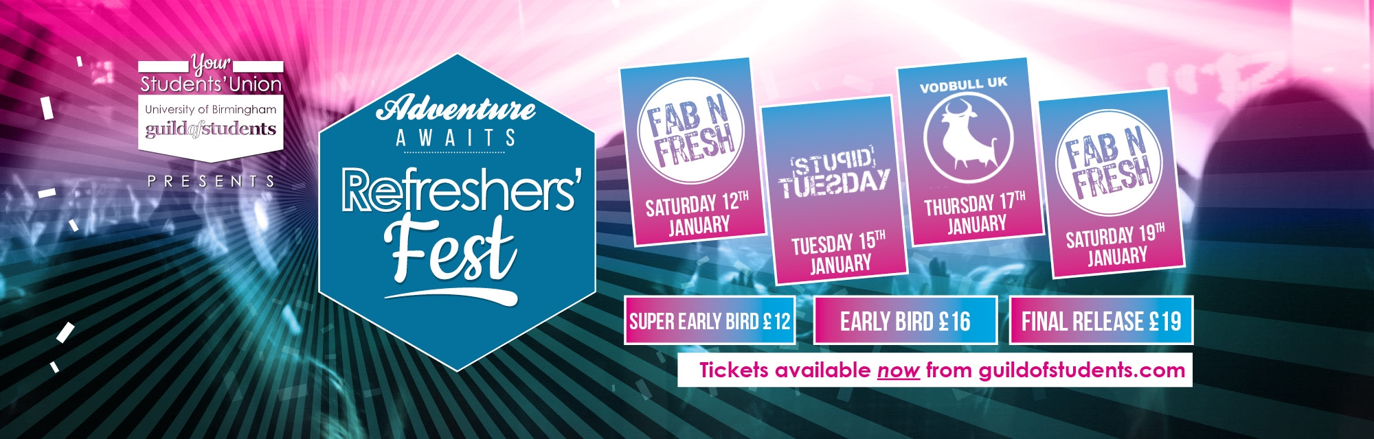 Refreshers Fest tickets now on sale - click here for more information