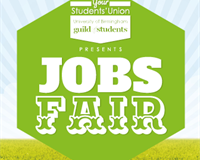 Guild of Students Presents: Jobs Fair (White text in Green hexagon)