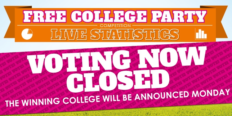 Free college party competition Live Statistics. Voting Now Closed. The winning college will be announced Monday