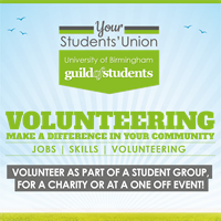 Guild of Students logo. Volunteering - Making a difference in your community!