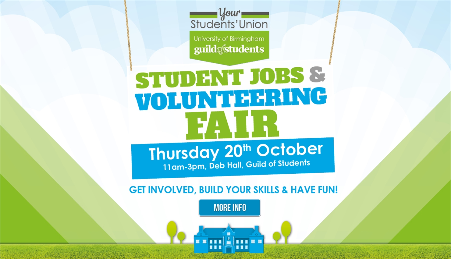 student jobs and volunteering fair - thursday 20th October 2016 - 11am - 3pm Deb Hall - Guild of Stu