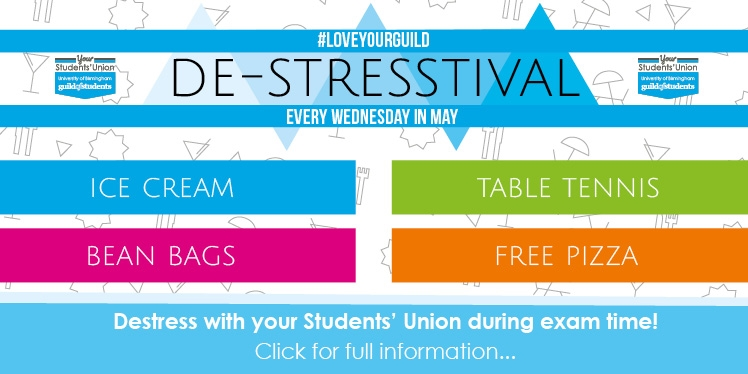 #loveyourguild De-Stresstival every Wednesday in May. Ice Cream, table tennis, bean bags and free pi