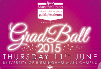 Your Student's Union, University of Birmingham Guild of Students, GradBall 2015