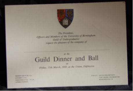 Image - Dinner invite to President of the Guild of Students - date unknown