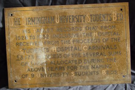 Image - Guild of Students plaque for hospital beds