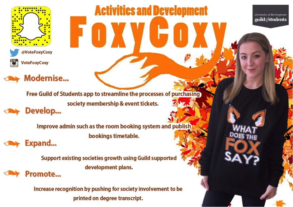 Natalie Cox - Activities & Development Officer Manifesto