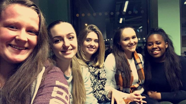 We are your Victoria Halls Residents' Association committee, also known as RAs. From left to right we are Emma, Rachel, Ellen, Lisa and Dejan