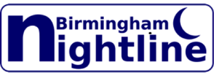 birmingham nightline logo - lines open 6pm - 8am tel no - 0121 4724621