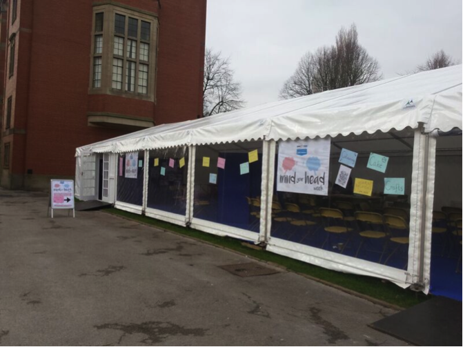 mind your head workshop images from 2015-16 - view of the marquee from the outside in chancellor square