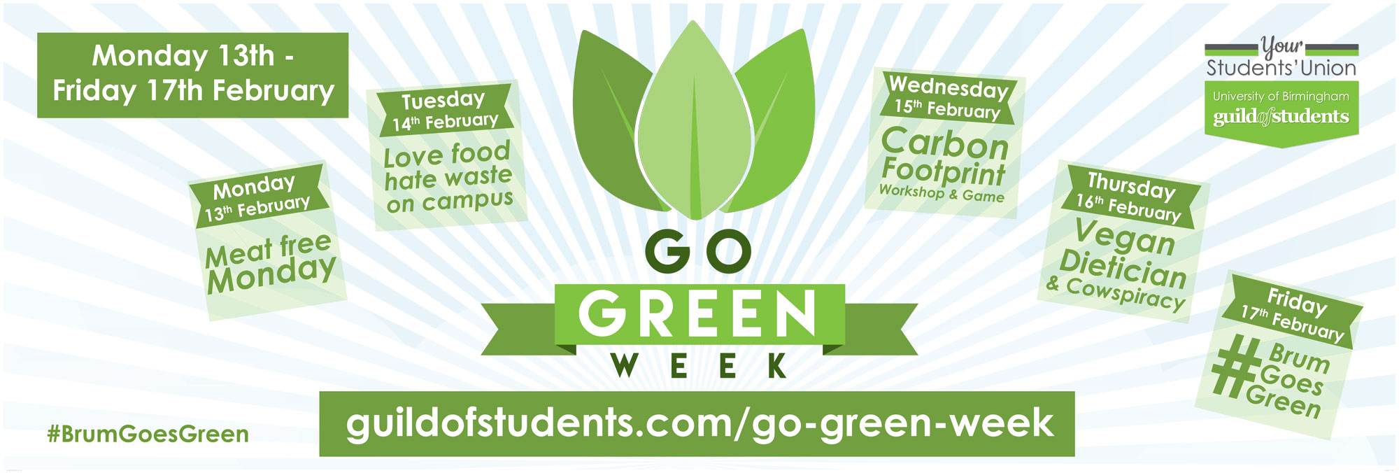 Go Green week banner to promote Guild related sustainability events