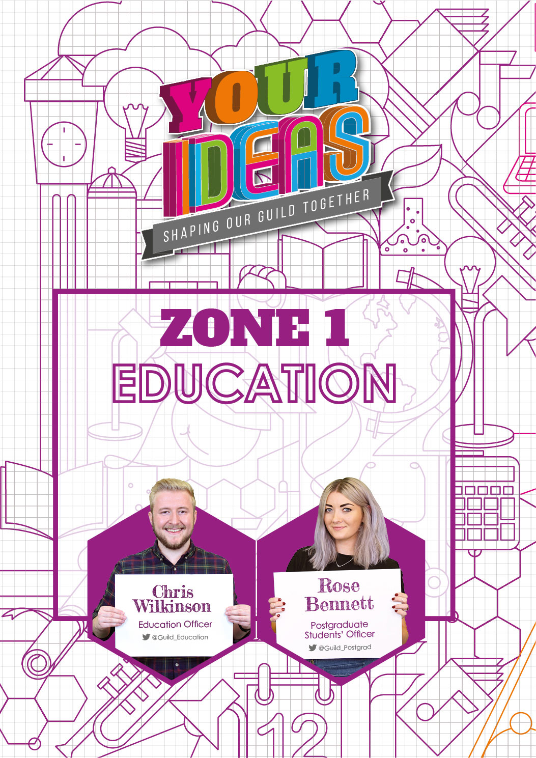 here you can find all of the Ideas related to your Education here at Birmingham. Chris, your Education Officer, and Rose, your Postgraduate Students' Officer, take care of the ideas in this Zone. Get in touch with them to find out more about the Zone and what they're working on. Click here to see what Ideas are currently up for discussion and voting in the Education Zone.