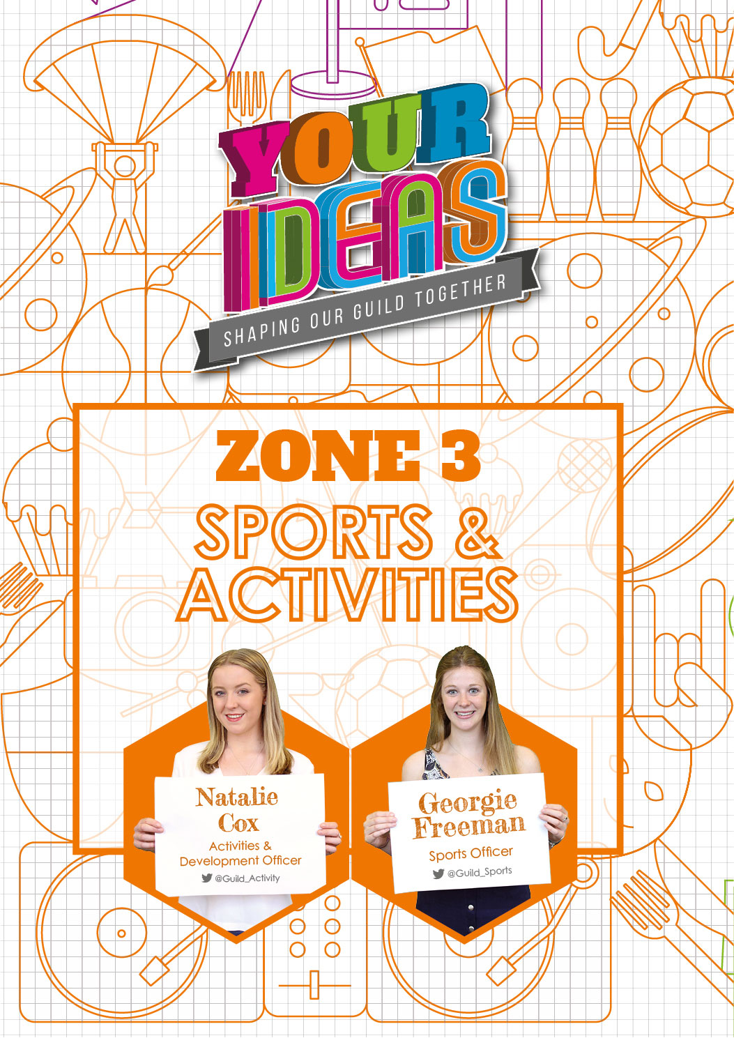 here you can find all of the Ideas related extracurricular activities, including societies and sports teams at Birmingham. Natalie, your Activities and Development Officer, and Georgie, your Sports Officer, take care of the ideas in this Zone. Get in touch with them to find out more about the Zone and what they're working on. Click here to see what Ideas are currently up for discussion and voting in the Sport & Activities Zone.